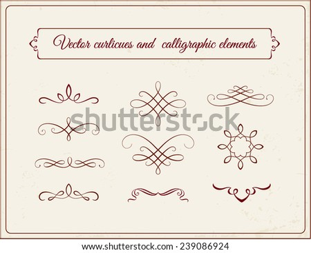 Vector curlicues and calligraphic elements - stock vector