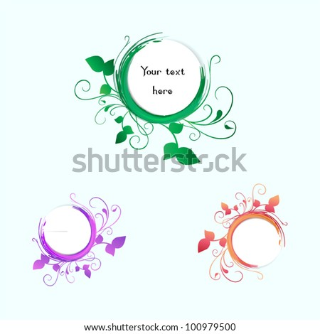 Vector curly banner with floral ornaments - set - stock vector