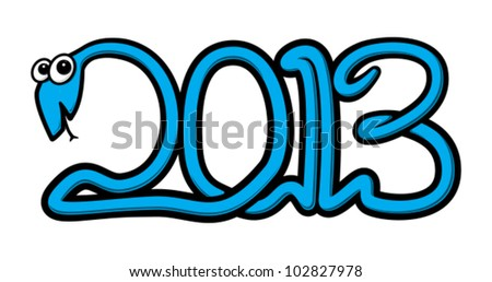 Vector curly water snake in the shape of the new year 2013 numbers