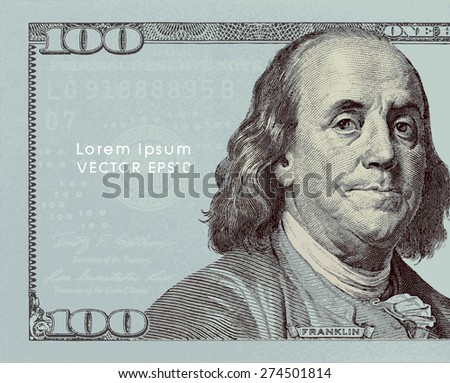vector - currency background with one hundred dollar bills - stock vector