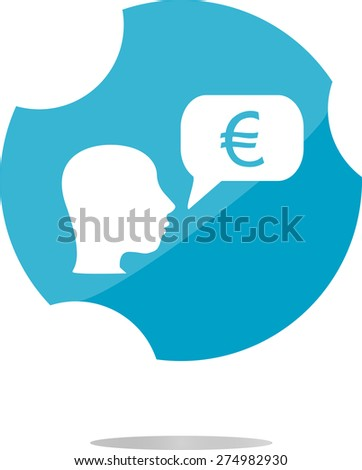 vector Currency exchange icons, euro money sign and people head - stock vector