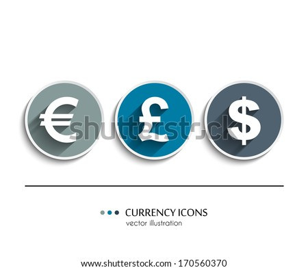 Vector currency icons set, dollar, euro, pound - stock vector