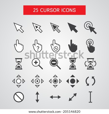 Vector Cursor Icons Set - stock vector