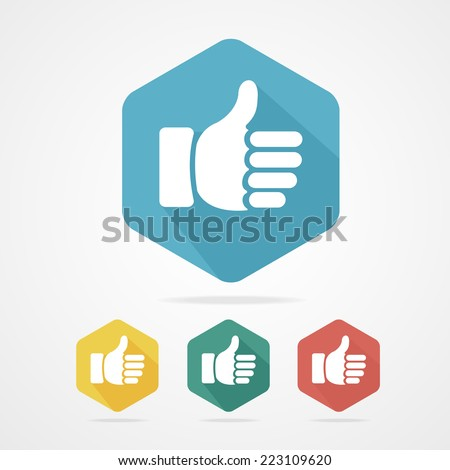 Vector Cursor thumb up like good social. Rainbow - stock vector