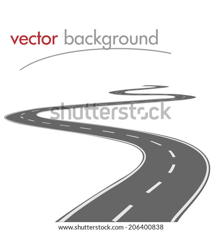 Vector curved road - stock vector