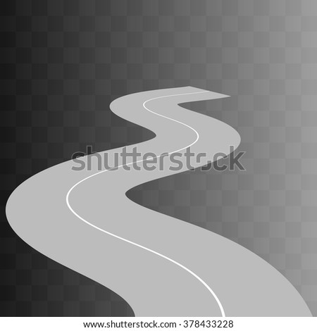 Vector  Curved road with white markings on transparent. illustration 9