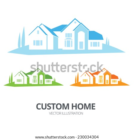 Vector custom home illustration with blue, green and orange versions - stock vector