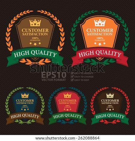 Vector : Customer Satisfaction 100% Guarantee High Quality Shield, Wheat Laurel Wreath, Ribbon, Label, Sticker or Icon - stock vector