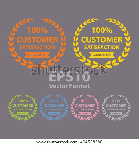 Vector 100 customer satisfaction guarantee sticker icon label banner sign