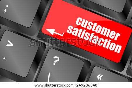vector customer satisfaction key word on computer keyboard - stock vector