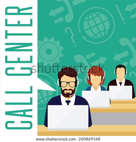 Vector customer service concept. Call center concept. Male and female avatars with a headset on symbol background. - stock vector