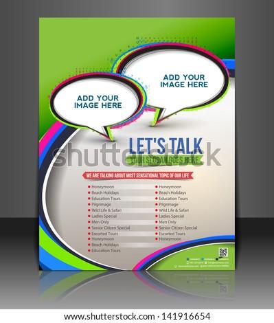 Vector customer support brochure, flyer, magazine cover & poster template. - stock vector