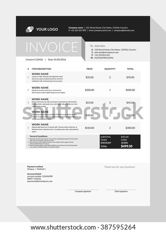 Vector Customizable Invoice Form Template Design. Vector Illustration - stock vector