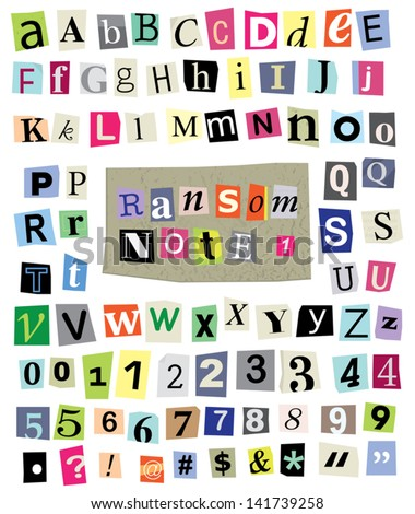 vector cut newspaper and magazine letters numbers symbols mixed uc