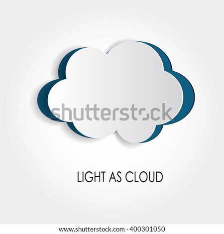Vector cut out white cloud. Simple notch out realistic element. Advertisement banner, poster, clear form to fill in. illustration with beveled edges. Lightness idea. Weather concept. Message symbol