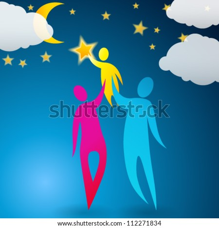 Vector cute, abstract illustration of a couple helping their child reach the stars - stock vector
