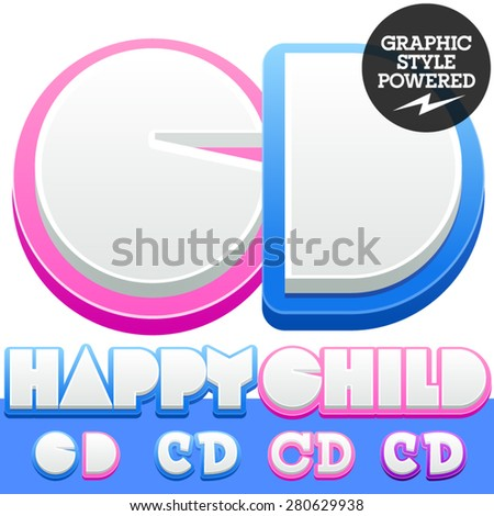 Vector cute alphabet for children. Nice white with blue  or pink letters and numbers for boys and girls. Letters C D - stock vector
