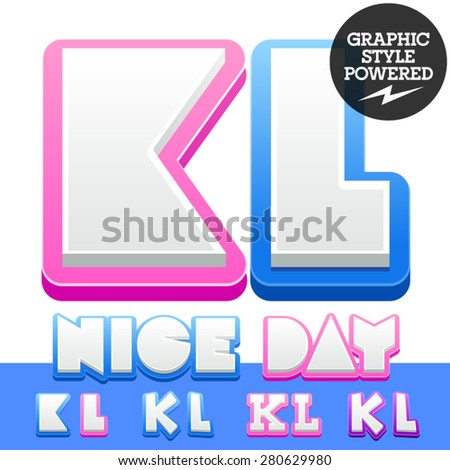 Vector cute alphabet for children. Nice white with blue  or pink letters and numbers for boys and girls. Letters K L - stock vector