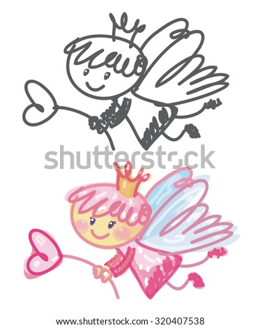 Vector cute angel cartoon. - stock vector