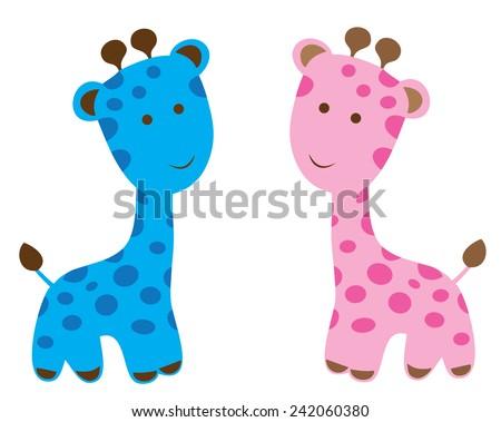 vector cute baby giraffes - stock vector