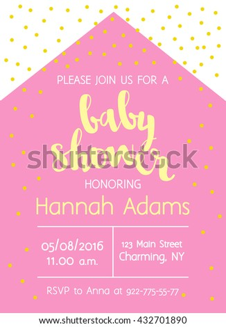 vector cute baby shower invitation with lettering for girl modern simple geometric background with gold