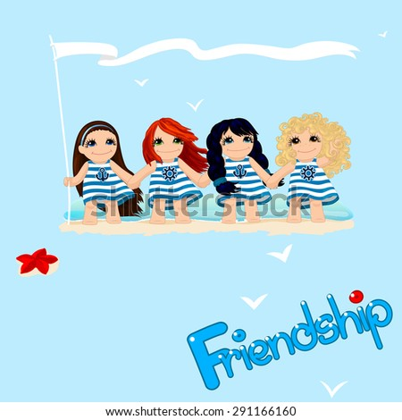 Vector Cute Background With Lovely Little Four Girls Holding Hands Friendship