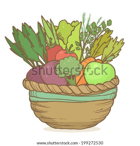 Vector cute basket with hand drawn vegetables on white background