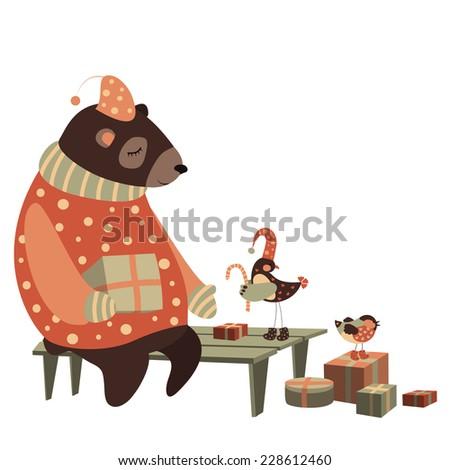 Vector cute bear and bird celebrate Christmas - stock vector