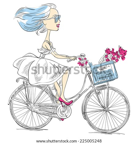 Vector cute beautiful fashionable girl in dress and heels rides a bike