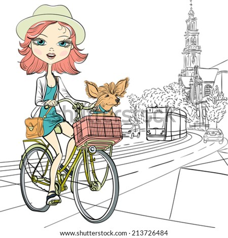 Vector Cute beautiful fashionable girl with dog rides a bike in Amsterdam - stock vector