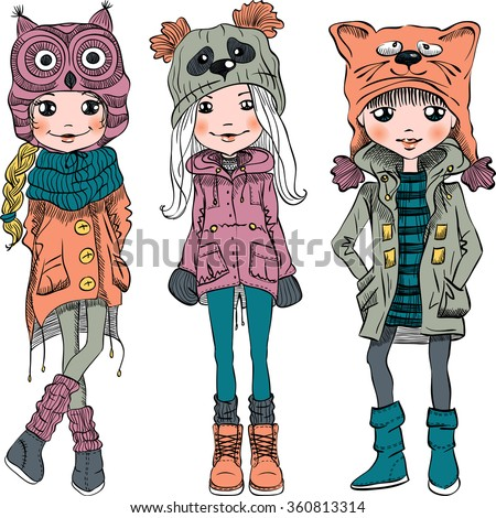 Vector cute beautiful fashionable girls in funny hats with muzzle cat, panda and owl - stock vector