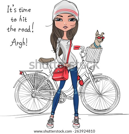 Vector Cute beautiful fashionable hipster girl with bike and dog - stock vector