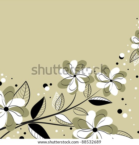Vector cute card with flowers - stock vector