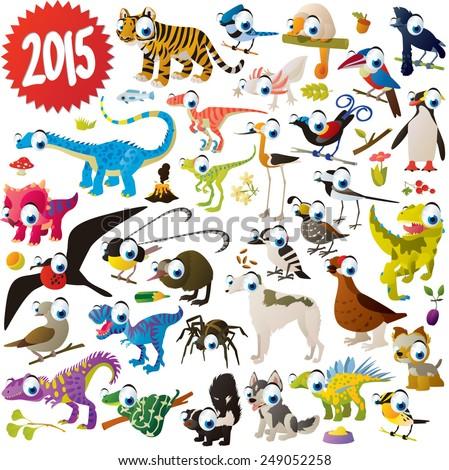 vector cute cartoon animals set: tiger, jay, umbrella bird, dinosaur, woodpecker, frigate, kiwi, bird of paradise, dogs, skunk, snake, penguin, spider, dove, fish, flower, butterfly, grouse, quail - stock vector