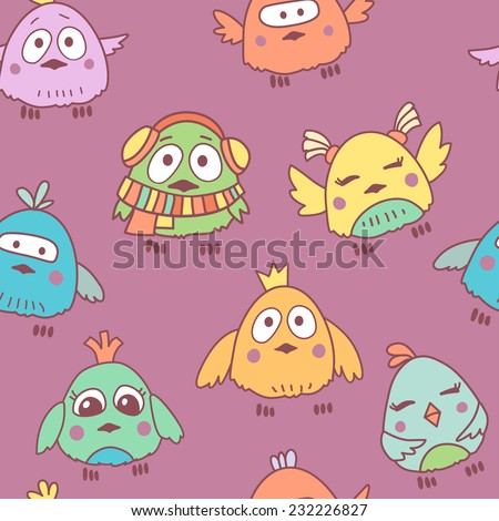 Vector cute cartoon birds seamless pattern with different emotions
