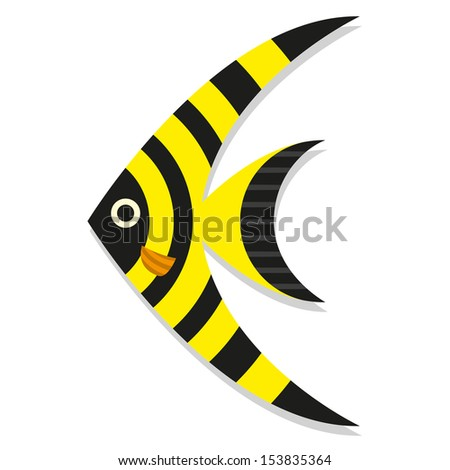 Vector Cute Cartoon Black And Yellow Fish Isolated Icon