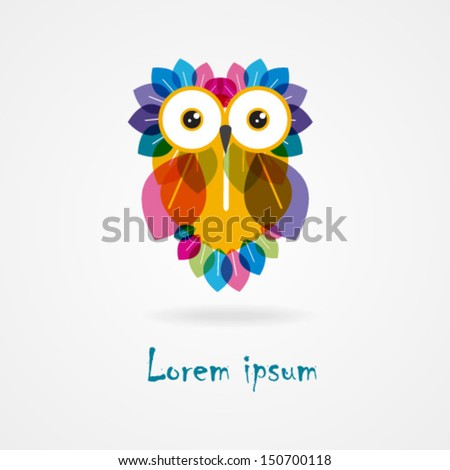 Vector Cute Cartoon Brown Colorful Owl.  Set of autumn nature elements. Business abstract icon. As sign, symbol,web, label, emblem, icon.Vector illustration. Eps 10 - stock vector