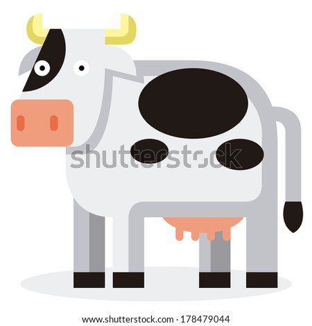 Vector Cute Cartoon Cow Isolated On White Background
