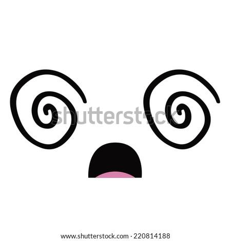 Vector Cute Cartoon Dizzy Face Editable - stock vector