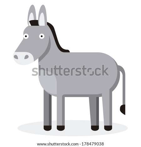 Vector Cute Cartoon Donkey Isolated On White Background - stock vector