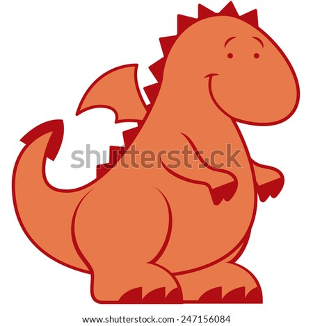 Vector Cute Cartoon Dragon Isolated On White Background