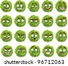 Vector cute cartoon green cabbage smile with many expressions - stock vector