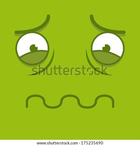 Vector Cute Cartoon Green Sick Face - stock vector