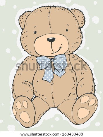 vector cute cartoon hand drawn teddy bear illustration with a dotted bow and dots - stock vector
