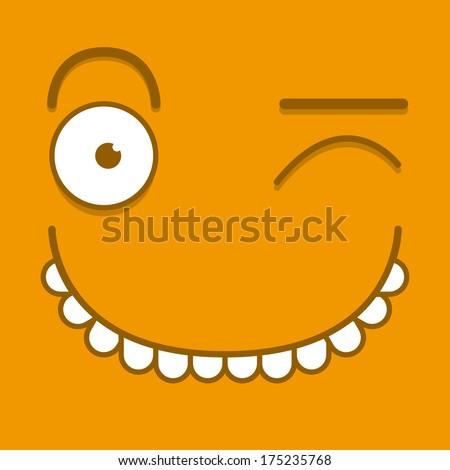 Vector Cute Cartoon Orange Winking Face - stock vector
