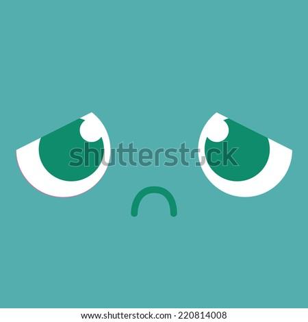 Vector Cute Cartoon Sad Face Editable - stock vector