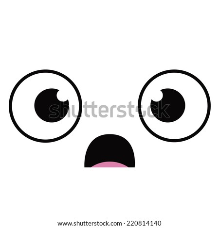 Vector Cute Cartoon Scared Face Editable - stock vector