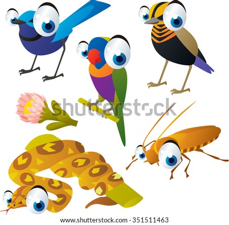 vector cute cartoon set of comic animals: birds, parrot, boa, cockroach. useful for kids mobile apps, flash card games, invitations, wall decor and other