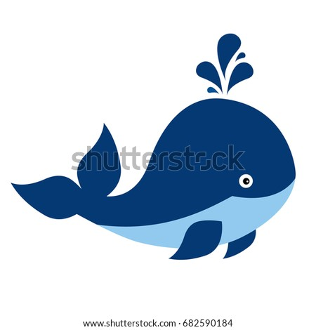 Vector cute cartoon whale on white background. Whale vector illustration.