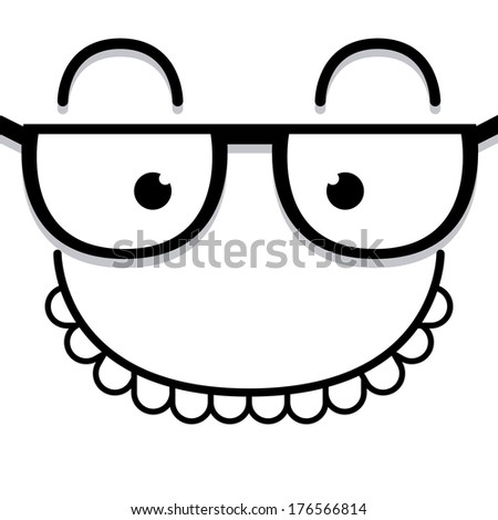 Vector Cute Cartoon White Face With Glasses - stock vector